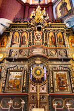 Icons In The St. Basil's Cathedral In Moscow.
