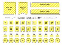 箇条書き、数字アイコンとタイトルフレーム・セット