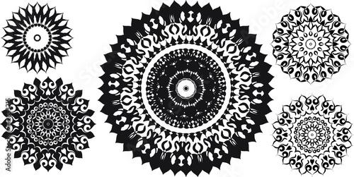 Carta da parati Decorative round ornaments set, isolated elements