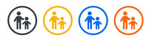 Guardian Icon. Adult Taking Care Of Child. Father And Son Symbol. Vector Illustration