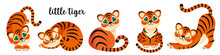 Set Of Cute Little Tigers In Different Poses