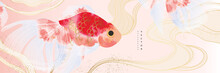 Asian Background ,Oriental Chinese And Japanese Style Abstract Pattern Background Design  With Goldfish Decorate In Water Color Texture