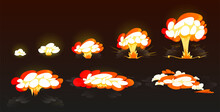 Cartoon Bomb Explosion Storyboard, Animation Frame For Mobile Game. Nuclear Cloud, Boom Effect, Smoke. Dynamite Explosive Detonation, Atomic Fire Motion Isolated Vector Explode On Black Background