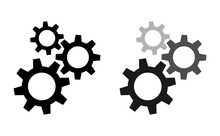 Setting Gears Icon. Cogwheel Group. Gear Design Collection On White Background - Stock Vector.