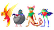 Superhero animals cartoon characters. Phoenix and dove in mask, brave mouse in cape and funny frog in red panties with arms akimbo. Comic super heroes for kids t-shirt print, Vector illustration, set