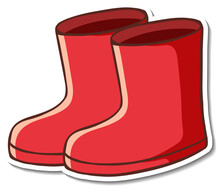 Sticker Design With Red Boots Footwear Isolated