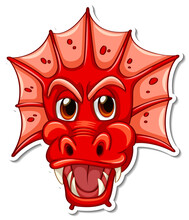Face Of Red Dragon Cartoon Character Sticker
