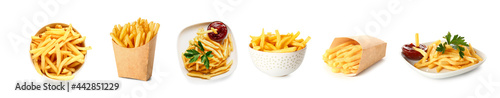 Tasty french fries with tomato sauce on white background