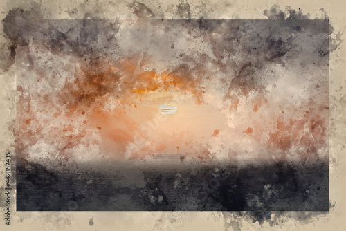 Fototapeta Digital watercolour painting of Stunning fine art landscape image of view from H