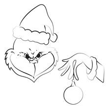 Elegant Outline Drawing Of Christmas Monster, Vector Illustration