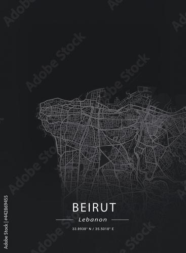 Tableau sur Toile Map of Beirut, Lebanon