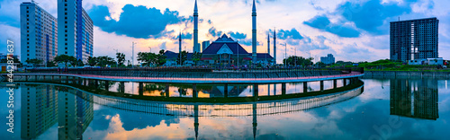 The exterior of Hasyim Asyari Grand Mosque in West Jakarta, Indonesia; with beautiful sunset sky.