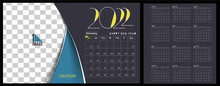 Happy New Year 2022 Calendar - New Year Holiday Design Elements For Holiday Cards, Calendar Banner Poster For Decorations, Vector Illustration Background.