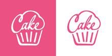 Logotipo Con Palabra Cake En Caligrafía Con Forma De Magdalena Con Lineas En Fondo Rosa Y Fondo Blanco
