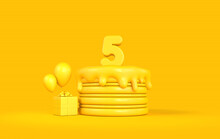 Happy 5th Birthday Celebration Cake With Present And Balloons. 3D Rendering