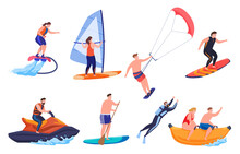Collection Of People Enjoying Beach Sport Vector Performing Extreme Outdoor Summer Activity