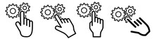 Finger Pointing To Cog Gear Wheels Icon. Concept Of Settings Selection, Or Clicking On Object