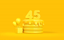 Happy 45th Birthday Celebration Cake With Present And Balloons. 3D Rendering