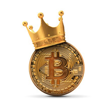 Bitcoin With Gold Crown. Cryptocurrency King Concept. 3D Rendering