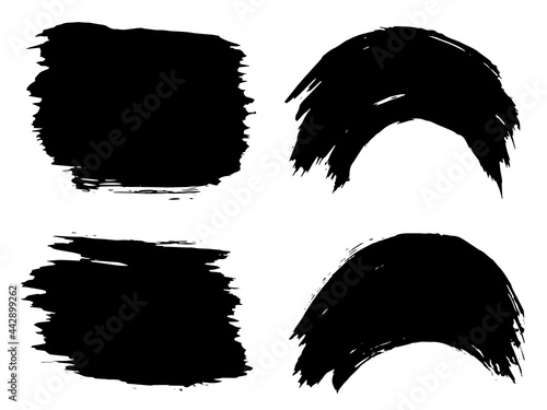 Obraz na płótnie Vector collection or set of artistic black paint, ink or acrylic hand made creat