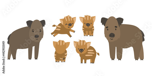 Leinwand Poster Cute forest boar and piglets family
