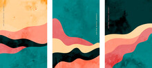 Hand Painted Abstract Minimal Curve Lines Flyer Background Set