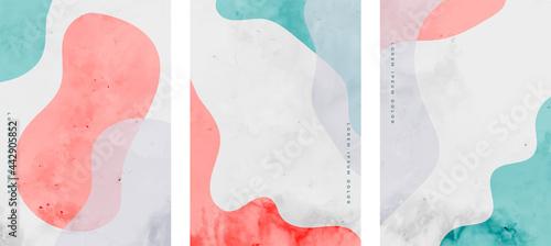 Fotografie, Obraz hand painted minimal fluid curve shapes poster design