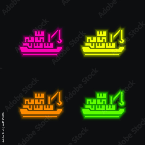 Canvas Print Barge four color glowing neon vector icon