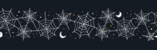 Hand Drawn Halloween Seamless Pattern, Spider Web Background, Great For Textiles, Cloth, Wrapping, Wallpapers - Vector Design