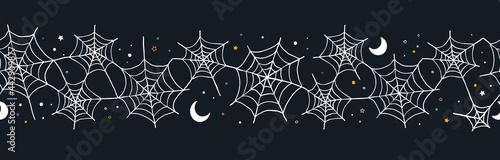 Fotografiet Hand drawn Halloween seamless pattern, spider web background, great for textiles