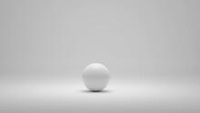 White Alone Sphere On White Background. 3D Illustration