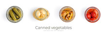 Canned Vegetables Isolated On White Background. Pickled Vegetables.