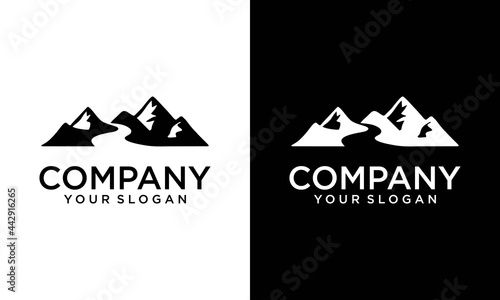 Canvastavla Mountain and River Logo Vector, Mountain Logo, River Logo Design Logo Template a