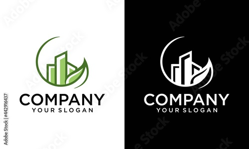 Tela Simple illustration logo design green real estate, combining leaf and building