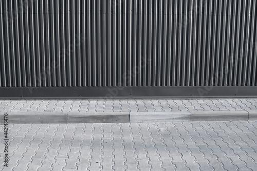 Canvastavla Brick pavement tile on a street near industrial building