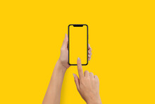 Hand Using Blank Touchscreen Of Smartphone