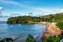 Anse La Raye, Beautiful Sand Beach In Saint Lucia, Caribbean Islands