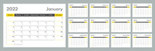 2022 Calendar Template. Corporate And Busines Planner Diary. Week Starts On Sunday. Set Of 12 Months 2022 Pages.