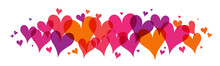 Colorful Vector Hearts Banner On White Background