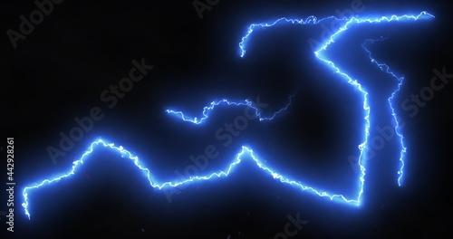 Obraz na plátně Blue lightning bolts of electrical current moving wildly across a black backgrou