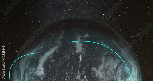 Turning globe with changing blue arcs connecting locations against dark cosmos with stars