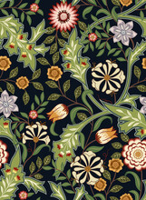 Floral Seamless Pattern With Big Flowers And Foliage On Dark Background. Vector Illustration.