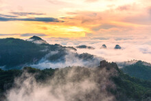Morning Mist Viewpoint Baan Jabo, The Most Favourite Place For Tourist In Mae Hong Son Province Thailand.