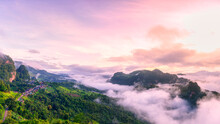 Morning Mist Viewpoint Phu Pha Mok Baan Jabo, The Most Favourite Place For Tourist In Mae Hong Son Province Thailand.