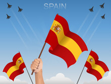 Spain Flags Flying Under The Blue Sky