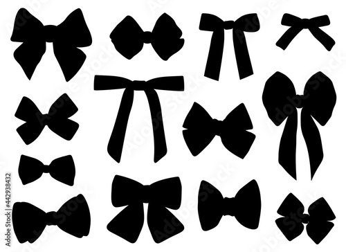 Foto Set black bows silhouettes vector illustration