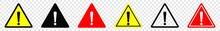 Attention Caution Danger Sign, Exclamation Mark Sign, Triangular Warning Symbols Icon Set, Warning Sign, Vector Illustration