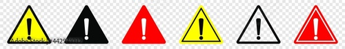 Photo Attention caution danger sign, Exclamation mark sign, Triangular warning symbols
