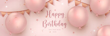 Elegant Rose Pink Golden Ballon And Ribbon Decoration Happy Birthday Celebration Card Banner Template Background