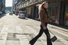 Young Girl Walking Around Chinese Downtown